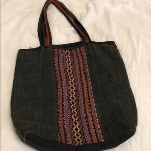 Hemp zip top tote with vintage woven textile